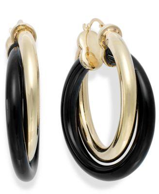 Signature Gold Onyx Twist Hoop Earrings 2534 ct tw in 14k