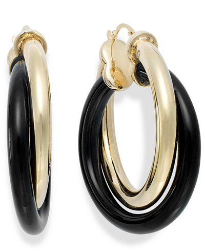 Signature Gold™ Onyx Twist Hoop Earrings (25-3/4 ct. t.w.) in 14k Gold over Resin