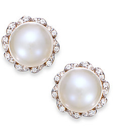 Cultured Freshwater Pearl (7mm) And Diamond (1/8 ct. t.w.) Earrings in 14k Gold