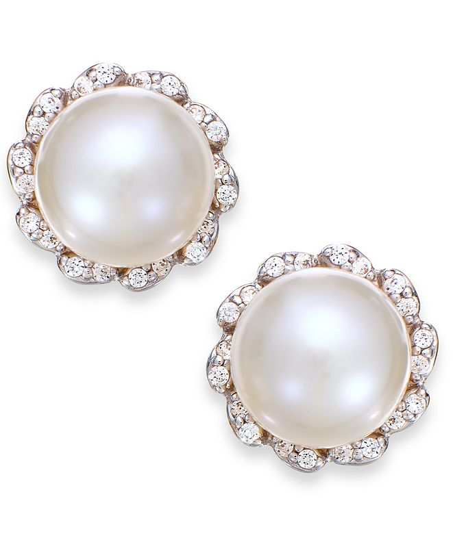 Macy's Cultured Freshwater Pearl (7mm) And Diamond (1/8 ct. t.w.) Earrings in 14k Gold