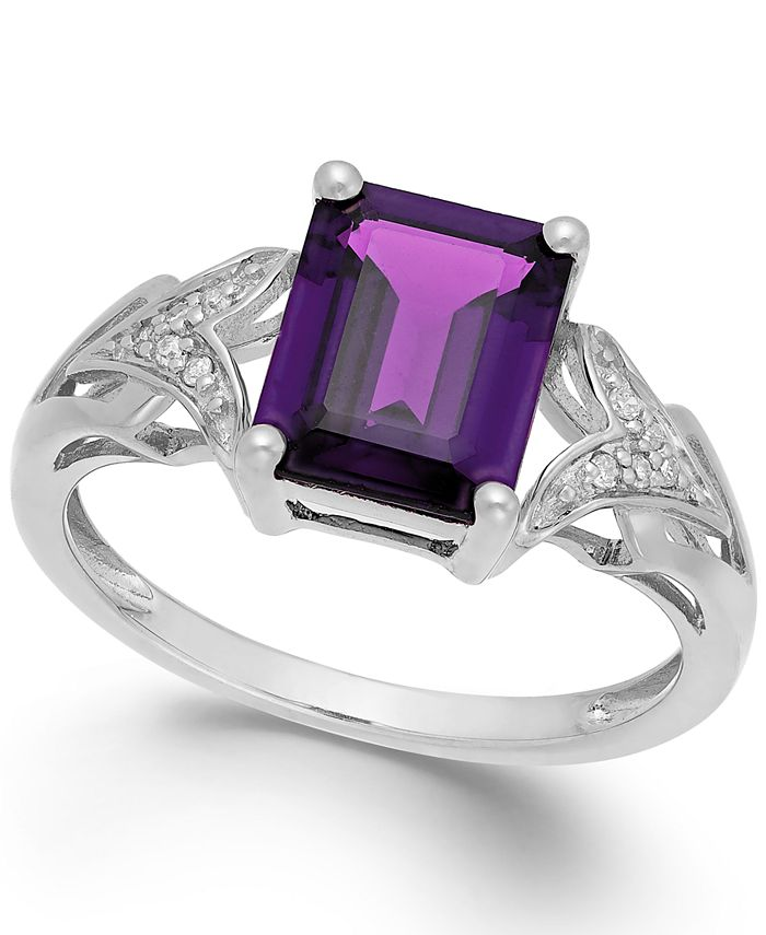 Macy's - Amethyst (2 ct. t.w.) and Diamond Accent Ring in 14k White Gold