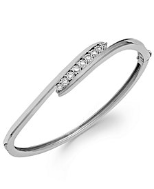 Diamond Swirl Bangle Bracelet in Sterling Silver (1/4 ct. t.w.)