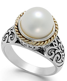 Cultured Freshwater Pearl Scroll Ring in 14k Gold and Sterling Silver (10mm)