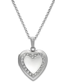Crystal Heart Locket Necklace in Sterling Silver