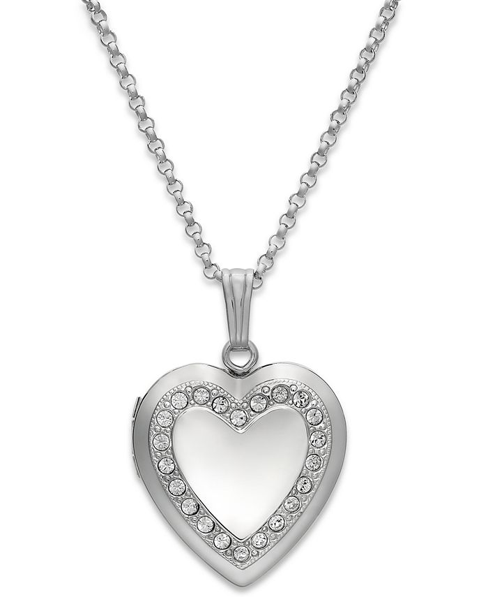 Macy's - Crystal Heart Locket Necklace in Sterling Silver