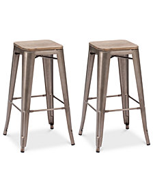 Walker Set of 2 Bar Stools, Quick Ship