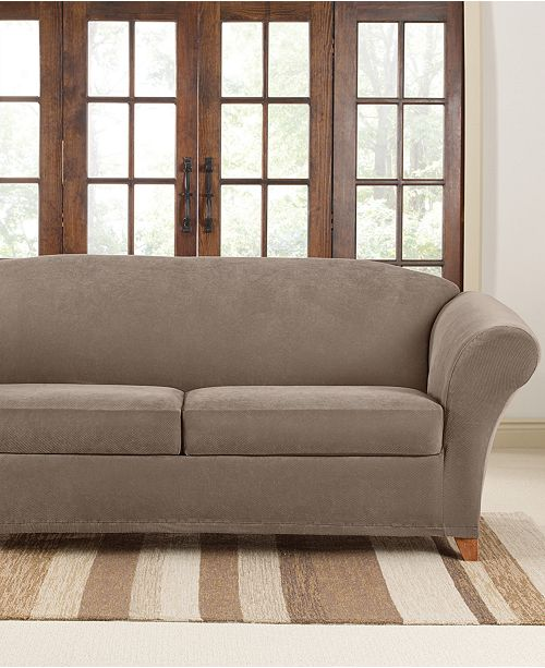 Stretch Pique 2 Cushion Sofa Slipcover