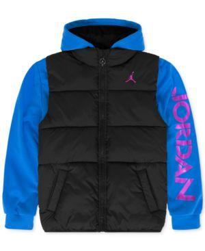JORDAN | Jordan Boys' Puff Vest Hooded Jacket | Goxip