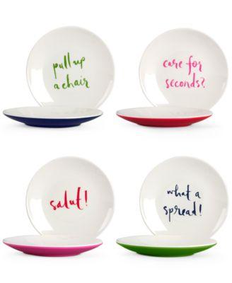 Set of 4 Sayings Melamine Tidbit Plates