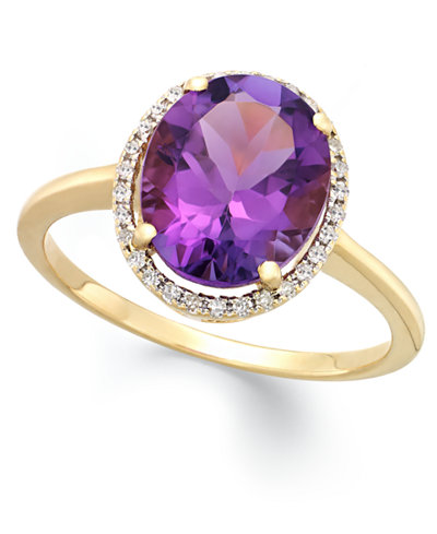 Amethyst (3 ct. t.w.) and Diamond (1/8 ct. t.w.) Ring in 14k Yellow Gold