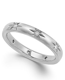 Star by Marchesa Diamond Star Wedding Band in 18k White Gold (1/8 ct. t.w.), Created for Macy's