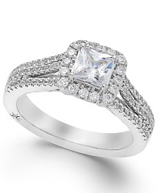 celeste halo by marchesa certified diamond split shank engagement ring 1 15 - Macy Wedding Rings