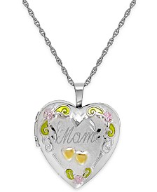 Mom Painted Heart Locket in Sterling Silver