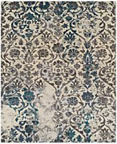 Neo Grey Damask Teal Area Rugs