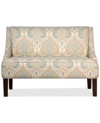 Furniture Glendale Latika Fabric Swoop Arm Settee, Quick Ship   Furniture    Macyu0027s