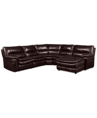 xander leather 5piece chaise sectional sofa with 1 power recliner