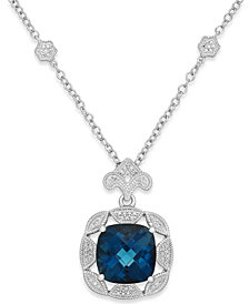 London Blue Topaz (7 ct. t.w.) and Diamond (1/7 ct. t.w.) Pendant Necklace in Sterling Silver
