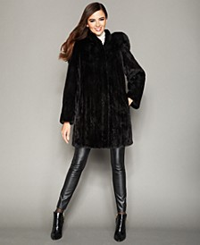 Fox-Trimmed Hooded Mink Coat