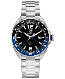 TAG Heuer Men's Swiss Automatic Formula 1 Calibre 7 GMT Stainless Steel Bracelet Watch 41mm WAZ211A.BA0875