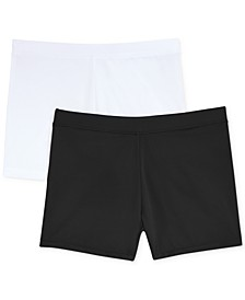 2-Pack Solid Biker Shorts, Little Girls & Big Girls