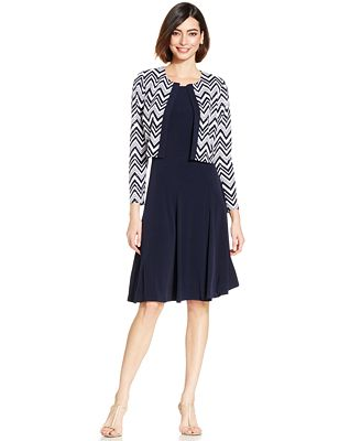 Jessica Howard Petite Chevron Sequined Dress and Jacket - Dresses ...