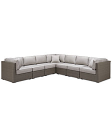 CLOSEOUT! South Harbor Outdoor 7-Pc. Modular Seating Set (3 Corner Units and 4 Armless Units), Created for Macy's