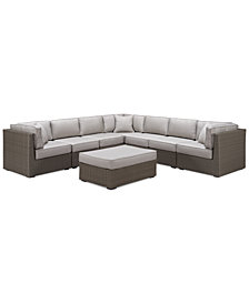 CLOSEOUT! South Harbor Outdoor 8-Pc. Modular Seating Set (3 Corner Units, 4 Armless Units and 1 Ottoman), Created for Macy's