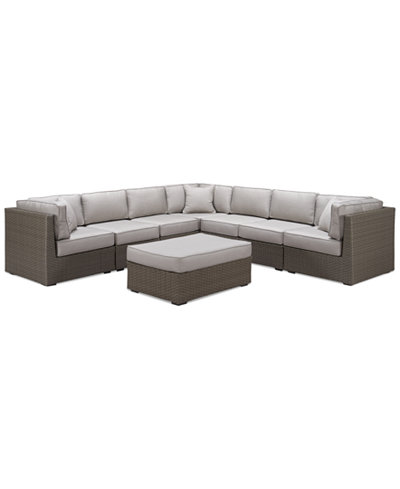 South Harbor Outdoor 8-Pc. Modular Seating Set (3 Corner Units, 4 Armless Units and 1 Ottoman), Created for Macy's