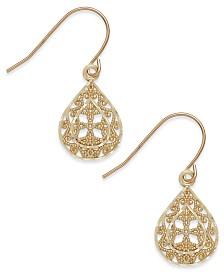 Filigree Teardrop Earrings in 10k Gold