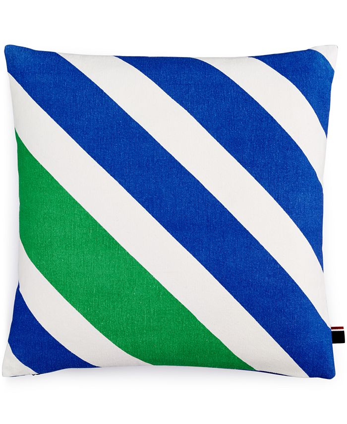 "Tommy Hilfiger - Diagonal Stripe 18"" Square Decorative Pillow"