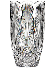 "Waterford Master Craftsmen Collection Peacock 10"" Vase"