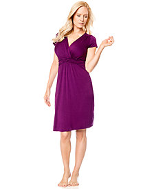 A Pea In The Pod Cap-Sleeve Surplice-Neck Maternity Nursing Nightgown