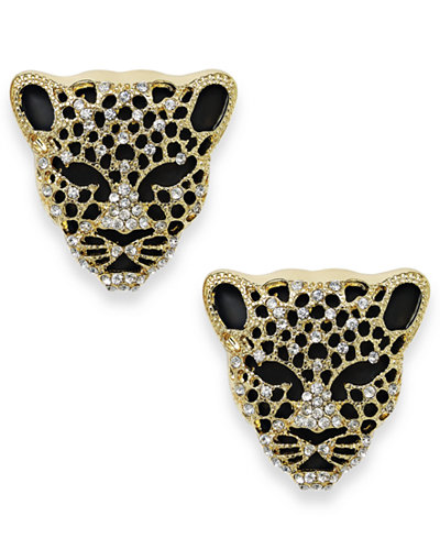 Thalia Sodi Black Crystal Jaguar Stud Earrings, Created for Macy's