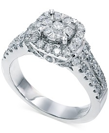 Bouquet by EFFY® Diamond Square Halo Engagement Ring in 14k White Gold (1-1/4 ct. t.w.)