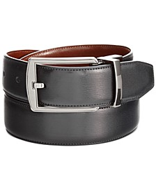 Portfolio Men's Leather Big & Tall Reversible Feather Stitch-Edge Belt