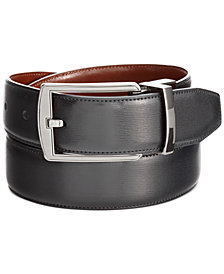 Perry Ellis Portfolio Men's Leather Big & Tall Reversible Feather Stitch-Edge Belt