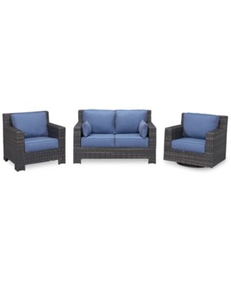 Viewport Outdoor Wicker 3-Pc. Seating Set (1 Loveseat, 1 Club Chair and 1 Swivel Glider), Created for Macy's