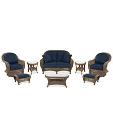 Sandy Cove Outdoor Wicker 8-Pc. Seating Set (1 Loveseat, 2 Swivel Gliders, 2 Ottomans, 1 Coffee Table and 2 End Tables) Custom Sunbrella®, Created for Macy's