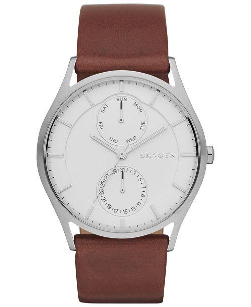 Skagen Men's Holst Dark Brown Leather Strap Watch 40mm SKW6176