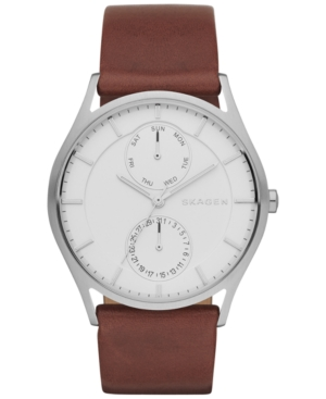 Skagen Men's Holst Dark Brown Leather Strap Watch 40mm SKW6176