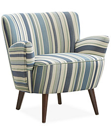 Colmar Striped Fabric Accent Chair, Quick Ship