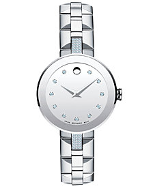 Movado Women's Swiss Sapphire Diamond (1/5 ct. t.w.) Stainless Steel Bracelet Watch 28mm 0606815