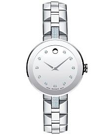 Movado Women's Swiss Sapphire Diamond (1/5 ct. t.w.) Stainless Steel Bracelet Watch 28mm 0606815
