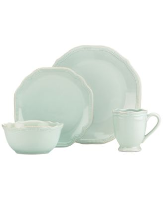 French Perle Ice Blue Bead Round 4 Piece Place Setting
