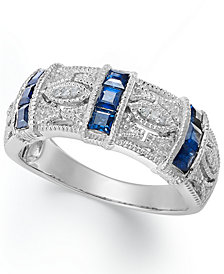 Sapphire (3/4 ct. t.w.) and Diamond Accent Band in Sterling Silver