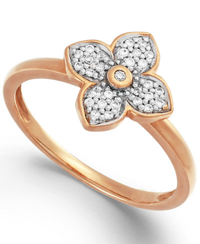 Diamond Flower Ring in 10k White, Yellow, or Rose Gold (1/10 ct. t.w.)