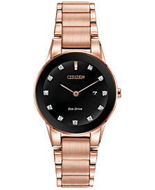 Citizen Women's Eco-Drive Axiom Diamond Accent Rose Gold-Tone Stainless Steel Bracelet Watch 30mm GA1058-59Q