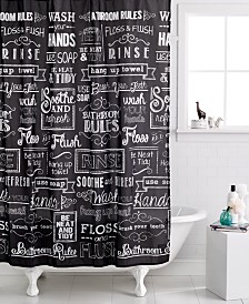 Avanti Chalk It Up Shower Curtain Curtains  Macy s