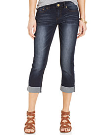Indigo Rein Juniors' Second Skin Cropped Cuffed Jeans