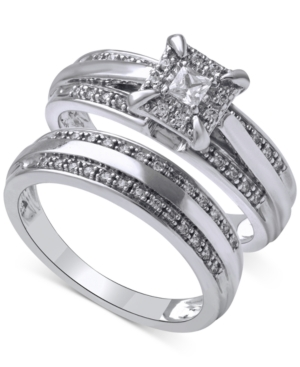 Beautiful Beginnings Diamond Halo Engagement Ring Set in 14k White Gold (1/3 ct. t.w.)